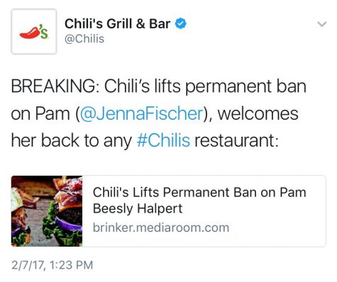 Chili's Lifts Ban on Pam Beesly