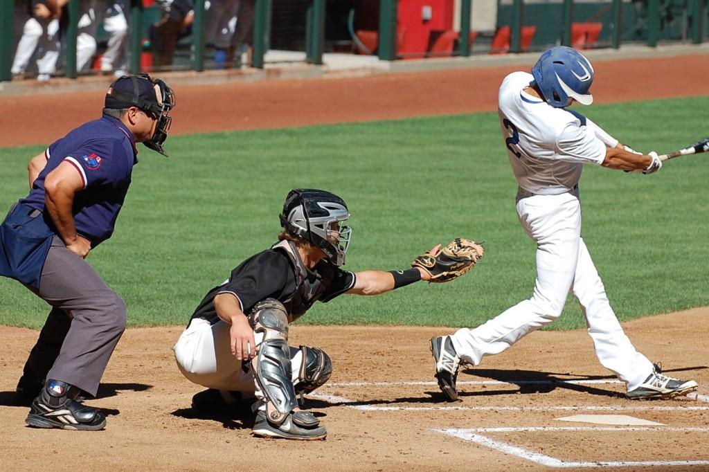 Catcher Kyle Pechloff is in position behind the plate.