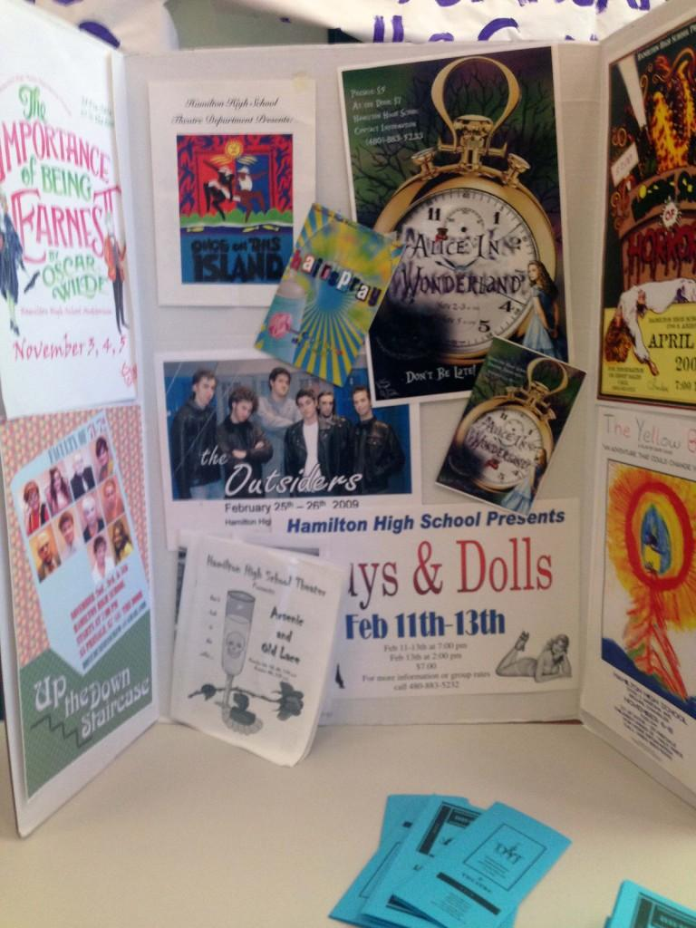 Students decorate poster boards to advertise their respective clubs. Shown here is the tri-fold board for Hamilton's Theater club.