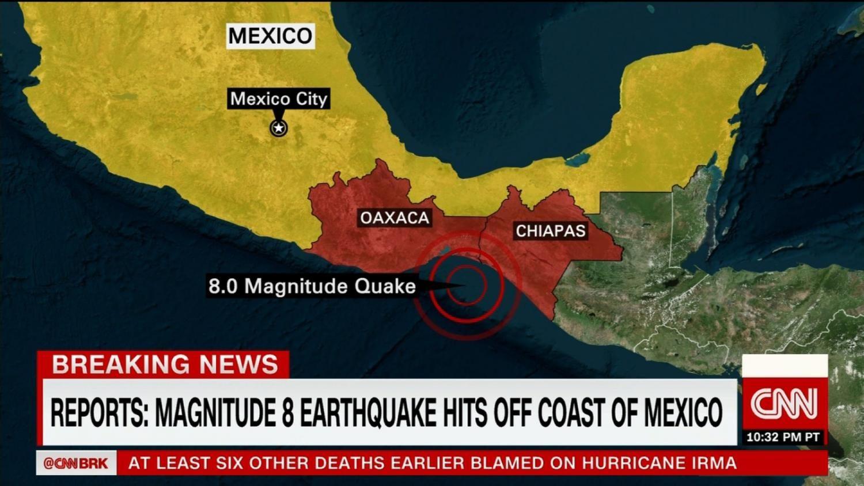 Magnitude 8.0 Earthquake Strikes Mexican Coast
