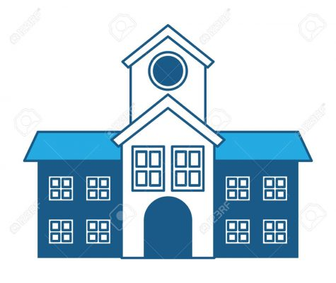 school building icon over white background, blue shading design. vector illustration