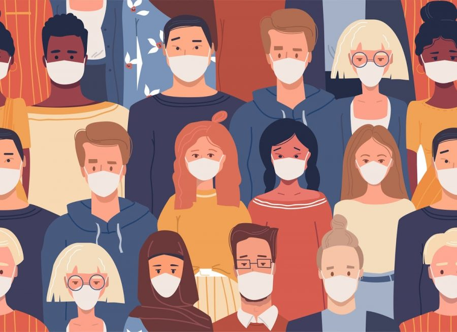 Vector seamless pattern in flat style with people of different nationalities wearing medical masks. Global society. Cultural diversity. Disease epidemic, coronavirus infection. Coronavirus quarantine